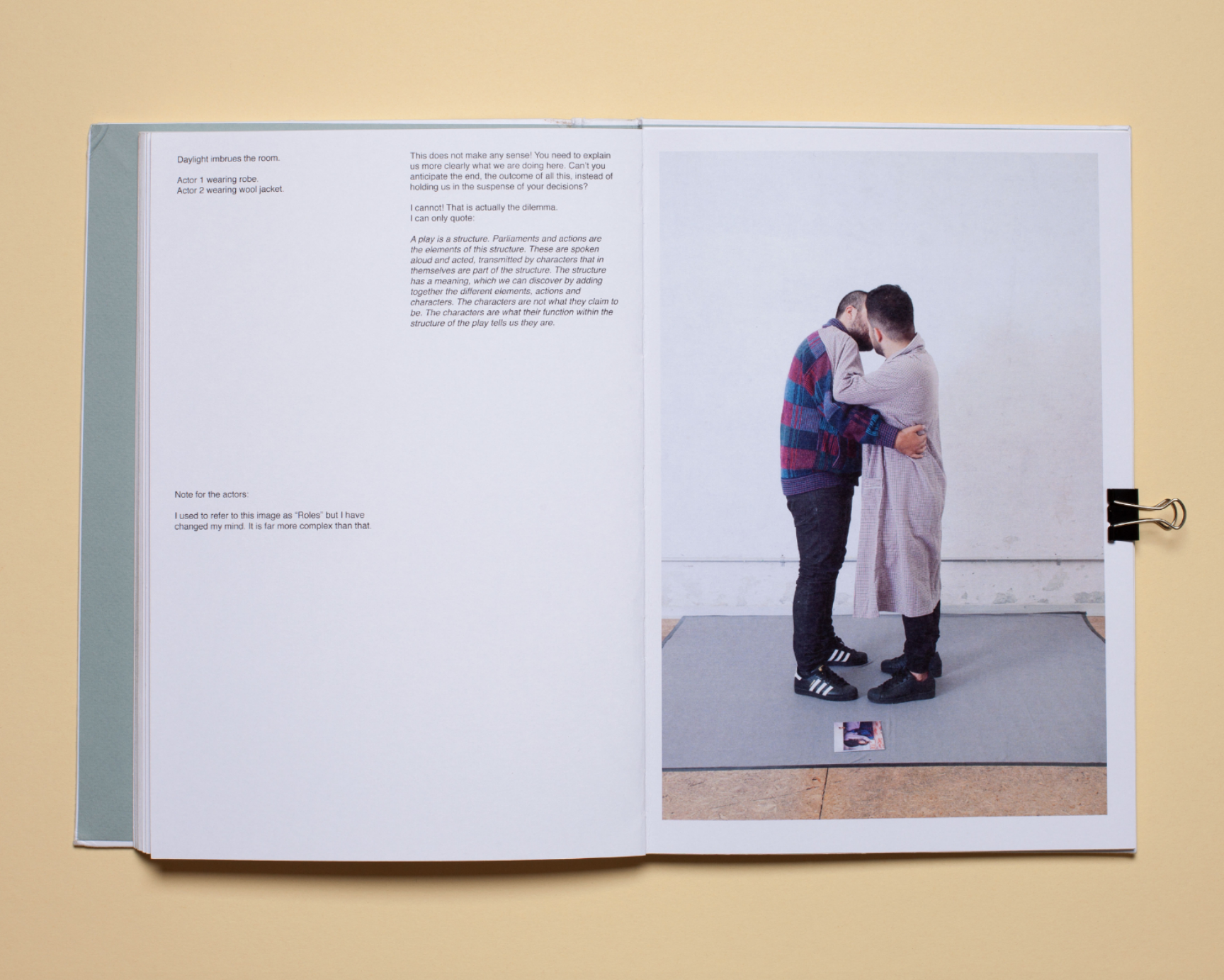 Mariela Sancari about her photobook dummy The two headed horse. Reenactment in ten acts